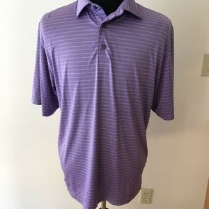 Footjoy purple and white stripe polo - mens medium